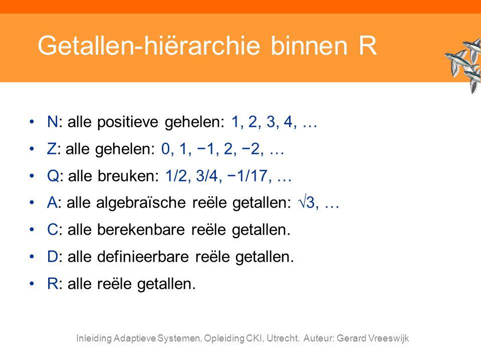 Inleiding Adaptieve Systemen, Opleiding CKI, Utrecht. Auteur: Gerard Vreeswijk Getallen-hiërarchie binnen R N: alle positieve gehelen: 1, 2, 3, 4, … Z