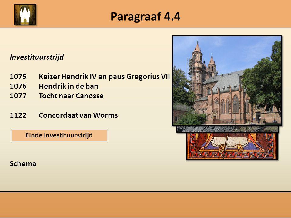 Paragraaf 4.4 Investituurstrijd 1075Keizer Hendrik IV en paus Gregorius VII 1076Hendrik in de ban 1077Tocht naar Canossa 1122Concordaat van Worms Sche