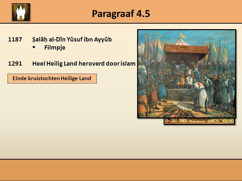 Paragraaf 4.5 1187Ṣalāḥ al-Dīn Yūsuf ibn Ayyūb  Filmpje 1291Heel Heilig Land heroverd door islam Einde kruistochten Heilige Land