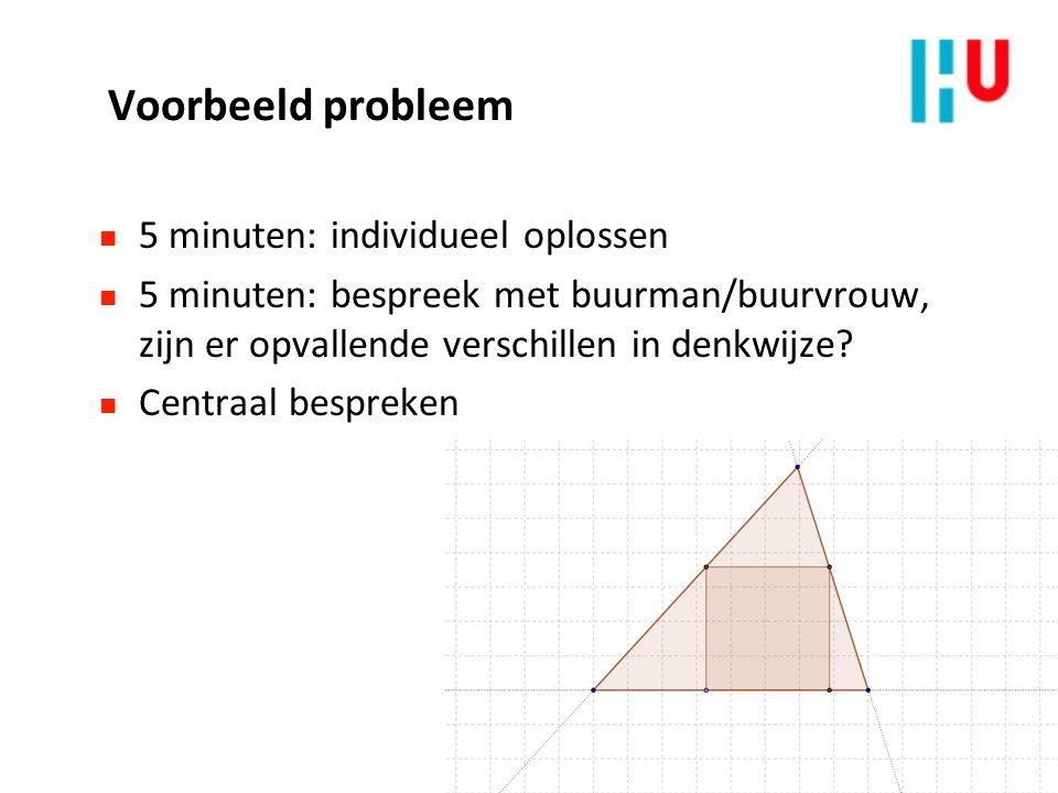 Voorbeeld probleem n 5 minuten: individueel oplossen n 5 minuten: bespreek met buurman/buurvrouw, zijn er opvallende verschillen in denkwijze? n Centr