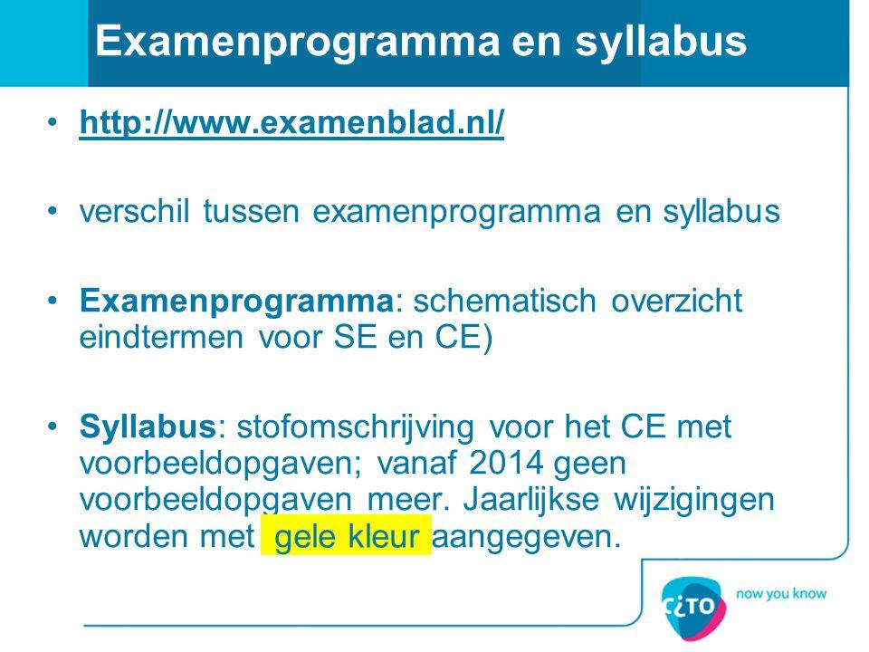 Examenprogramma en syllabus http://www.examenblad.nl/ verschil tussen examenprogramma en syllabus Examenprogramma: schematisch overzicht eindtermen vo