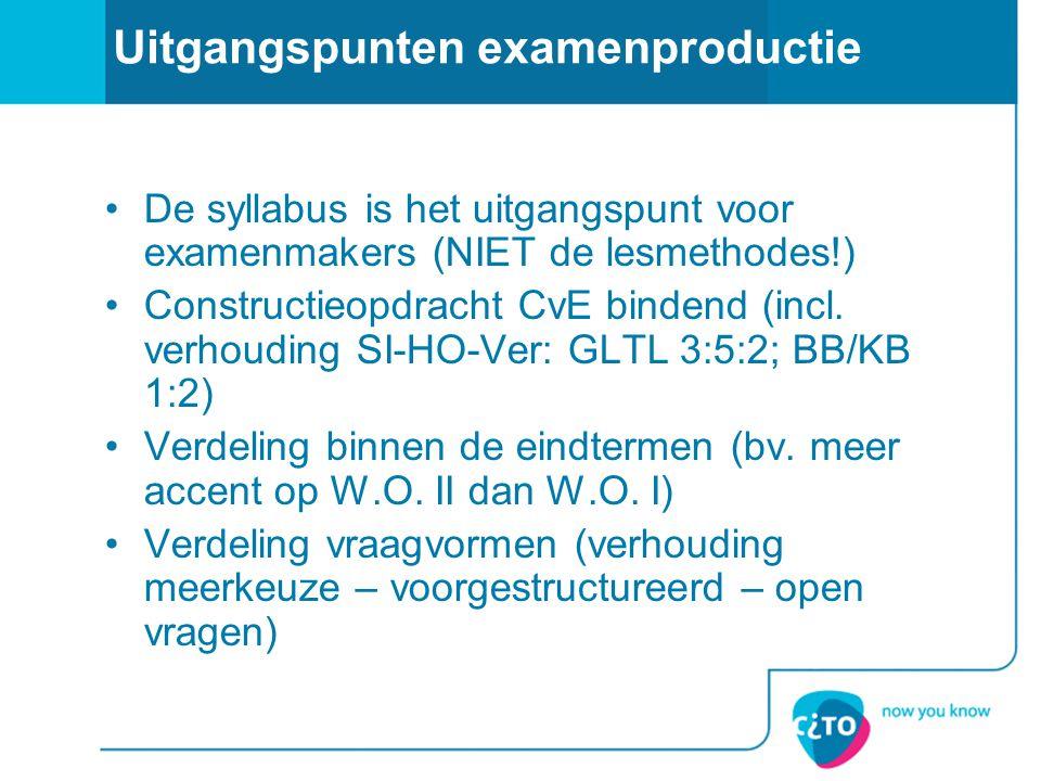 Uitgangspunten examenproductie De syllabus is het uitgangspunt voor examenmakers (NIET de lesmethodes!) Constructieopdracht CvE bindend (incl. verhoud