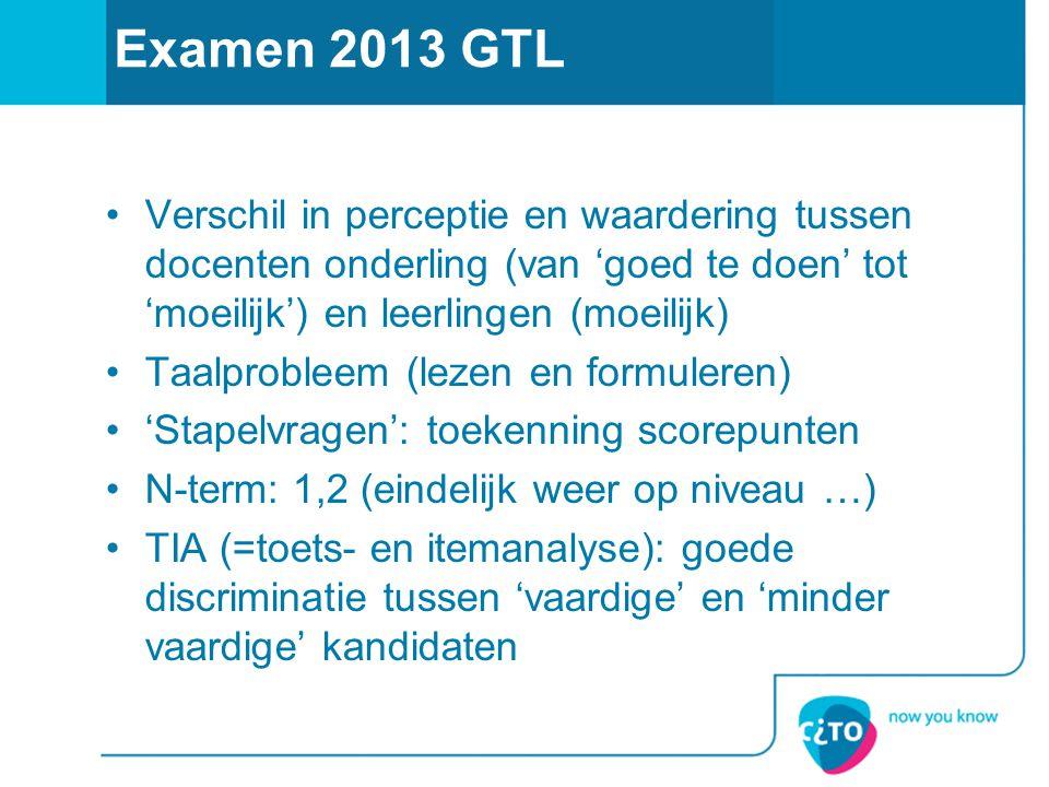 Examen 2013 GTL Verschil in perceptie en waardering tussen docenten onderling (van 'goed te doen' tot 'moeilijk') en leerlingen (moeilijk) Taalproblee