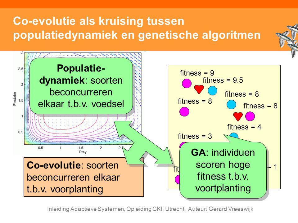 Inleiding Adaptieve Systemen, Opleiding CKI, Utrecht. Auteur: Gerard Vreeswijk Co-evolutie als kruising tussen populatiedynamiek en genetische algorit