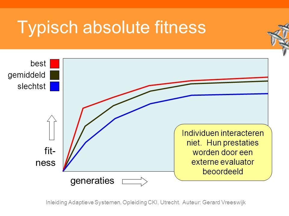 Inleiding Adaptieve Systemen, Opleiding CKI, Utrecht. Auteur: Gerard Vreeswijk Typisch absolute fitness fit- ness generaties best gemiddeld slechtst I