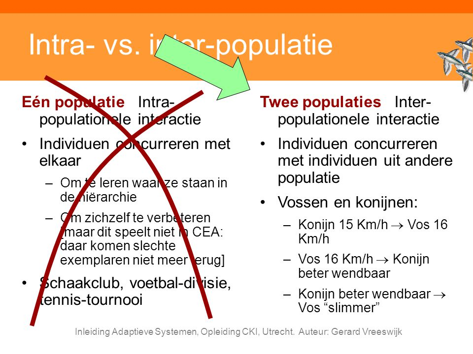 Inleiding Adaptieve Systemen, Opleiding CKI, Utrecht. Auteur: Gerard Vreeswijk Intra- vs. inter-populatie Eén populatie Intra- populationele interacti