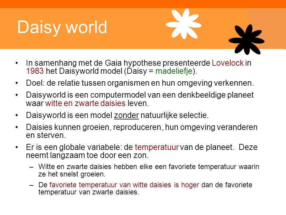 Inleiding Adaptieve Systemen, Opleiding CKI, Utrecht. Auteur: Gerard Vreeswijk Daisy world In samenhang met de Gaia hypothese presenteerde Lovelock in