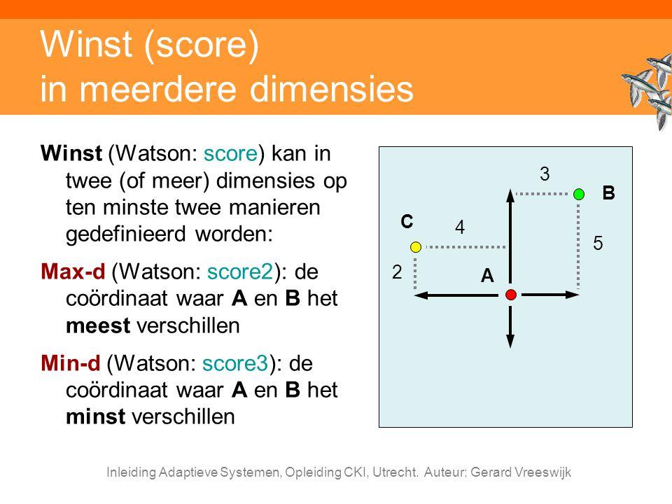 Inleiding Adaptieve Systemen, Opleiding CKI, Utrecht. Auteur: Gerard Vreeswijk Winst (score) in meerdere dimensies Winst (Watson: score) kan in twee (