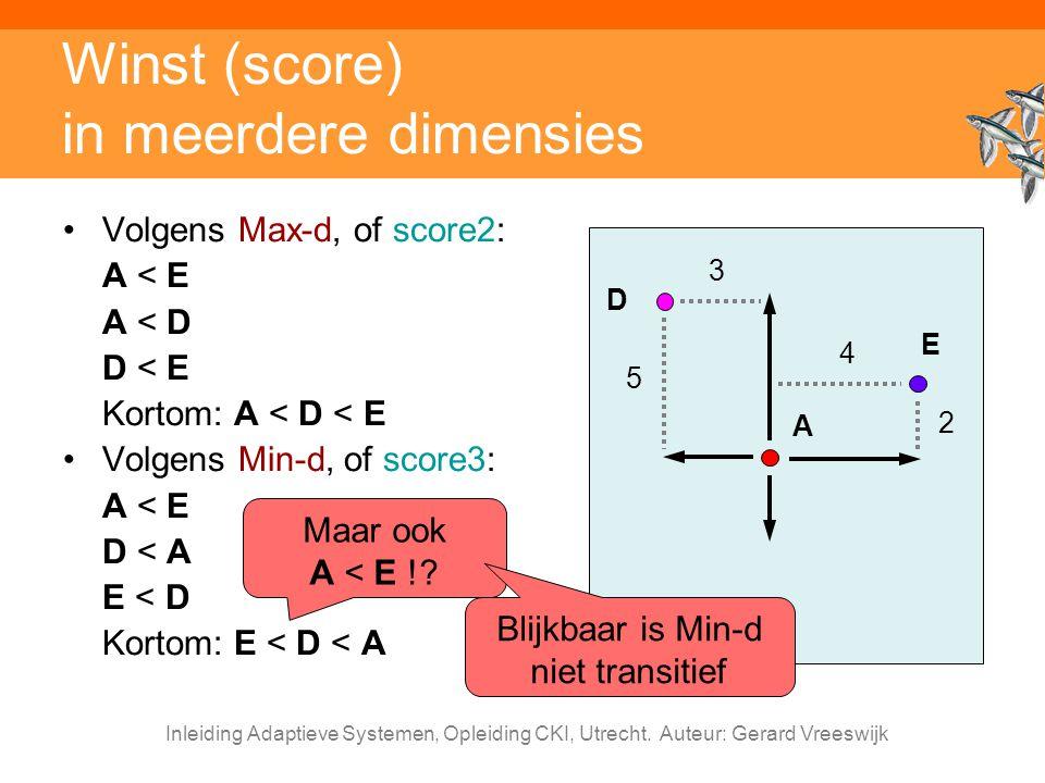 Inleiding Adaptieve Systemen, Opleiding CKI, Utrecht. Auteur: Gerard Vreeswijk Winst (score) in meerdere dimensies Volgens Max-d, of score2: A < E A <