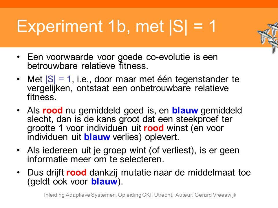 Inleiding Adaptieve Systemen, Opleiding CKI, Utrecht. Auteur: Gerard Vreeswijk Experiment 1b, met |S| = 1 Een voorwaarde voor goede co-evolutie is een