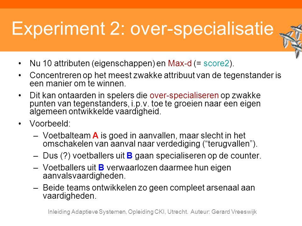 Inleiding Adaptieve Systemen, Opleiding CKI, Utrecht. Auteur: Gerard Vreeswijk Experiment 2: over-specialisatie Nu 10 attributen (eigenschappen) en Ma