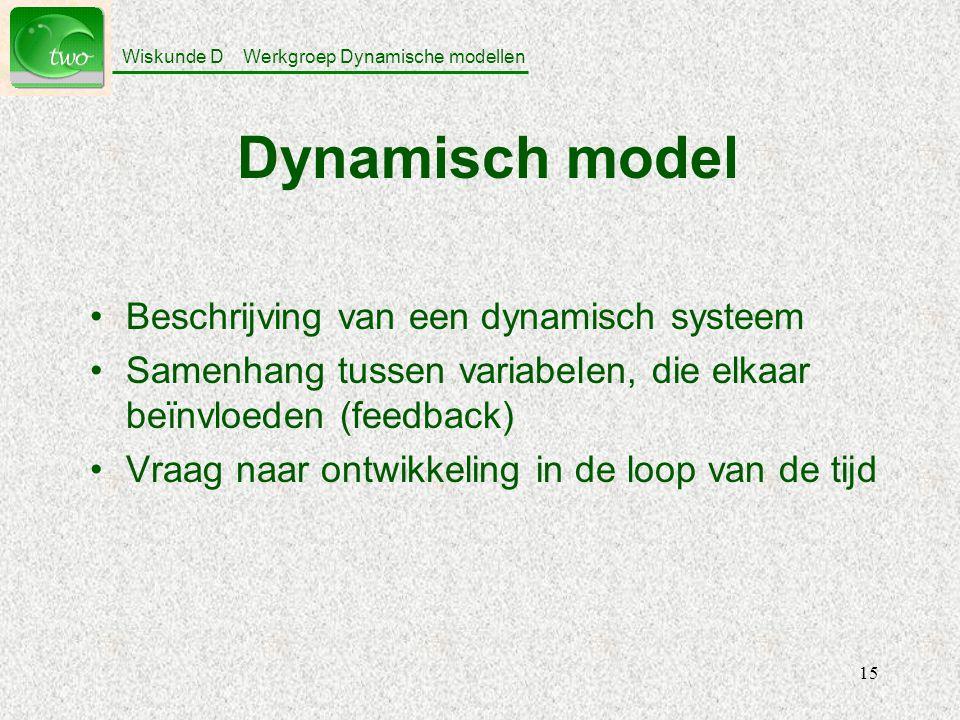 Wiskunde D Werkgroep Dynamische modellen 15 Dynamisch model Beschrijving van een dynamisch systeem Samenhang tussen variabelen, die elkaar beïnvloeden (feedback) Vraag naar ontwikkeling in de loop van de tijd
