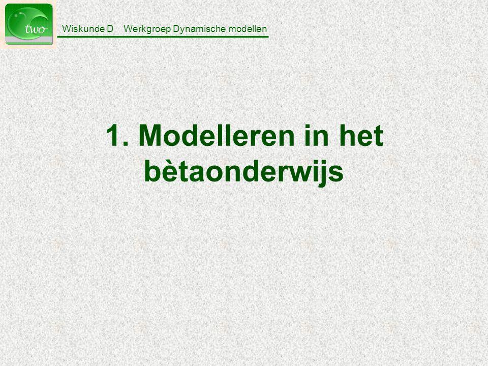 Wiskunde D Werkgroep Dynamische modellen 14 Modelleren discrete modellen (vb.