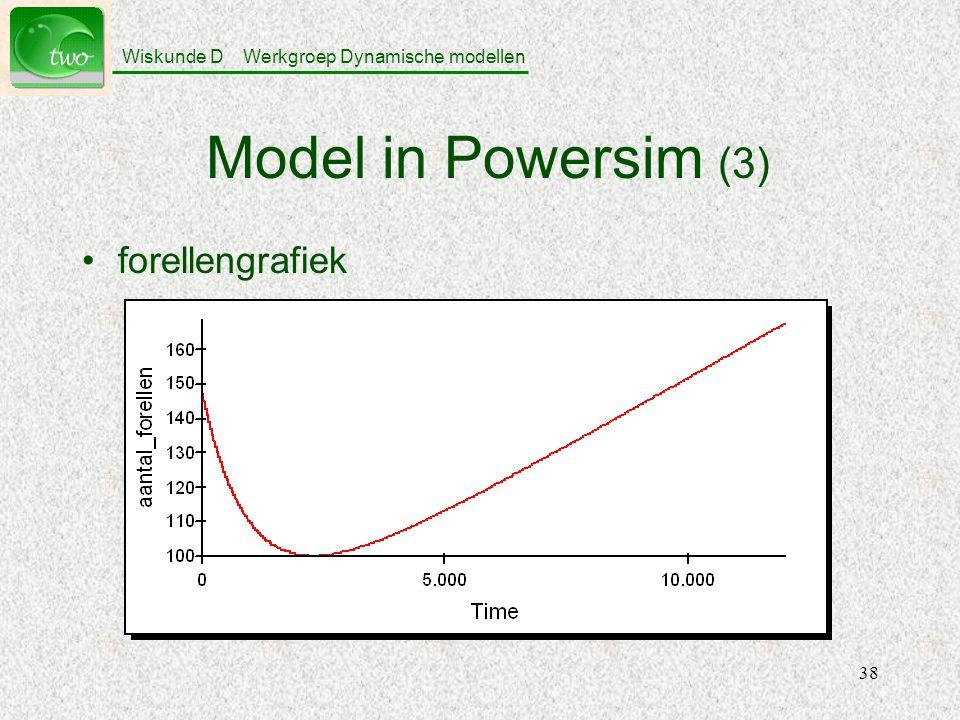 Wiskunde D Werkgroep Dynamische modellen 38 Model in Powersim (3) forellengrafiek