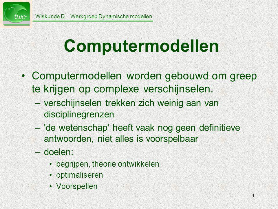Wiskunde D Werkgroep Dynamische modellen 4 Computermodellen Computermodellen worden gebouwd om greep te krijgen op complexe verschijnselen.