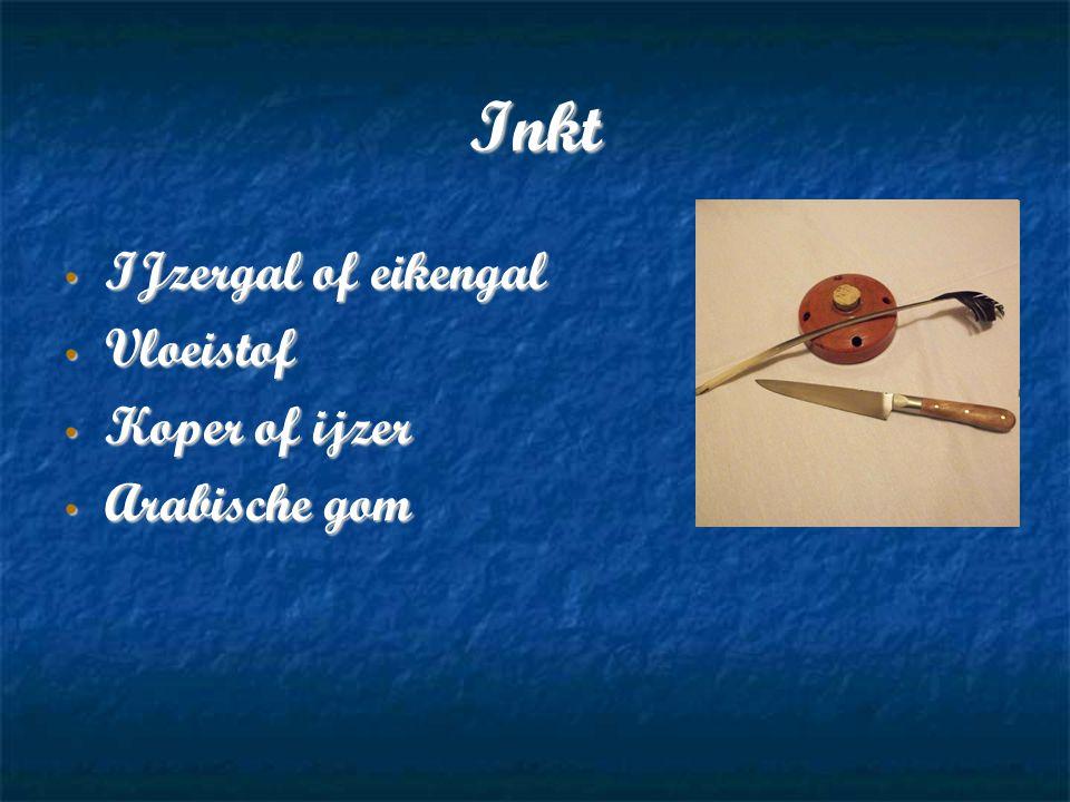 Inkt IJzergal of eikengal IJzergal of eikengal Vloeistof Vloeistof Koper of ijzer Koper of ijzer Arabische gom Arabische gom