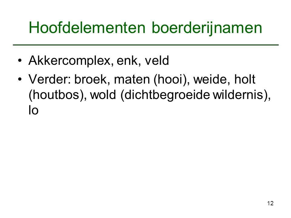 12 Hoofdelementen boerderijnamen Akkercomplex, enk, veld Verder: broek, maten (hooi), weide, holt (houtbos), wold (dichtbegroeide wildernis), lo
