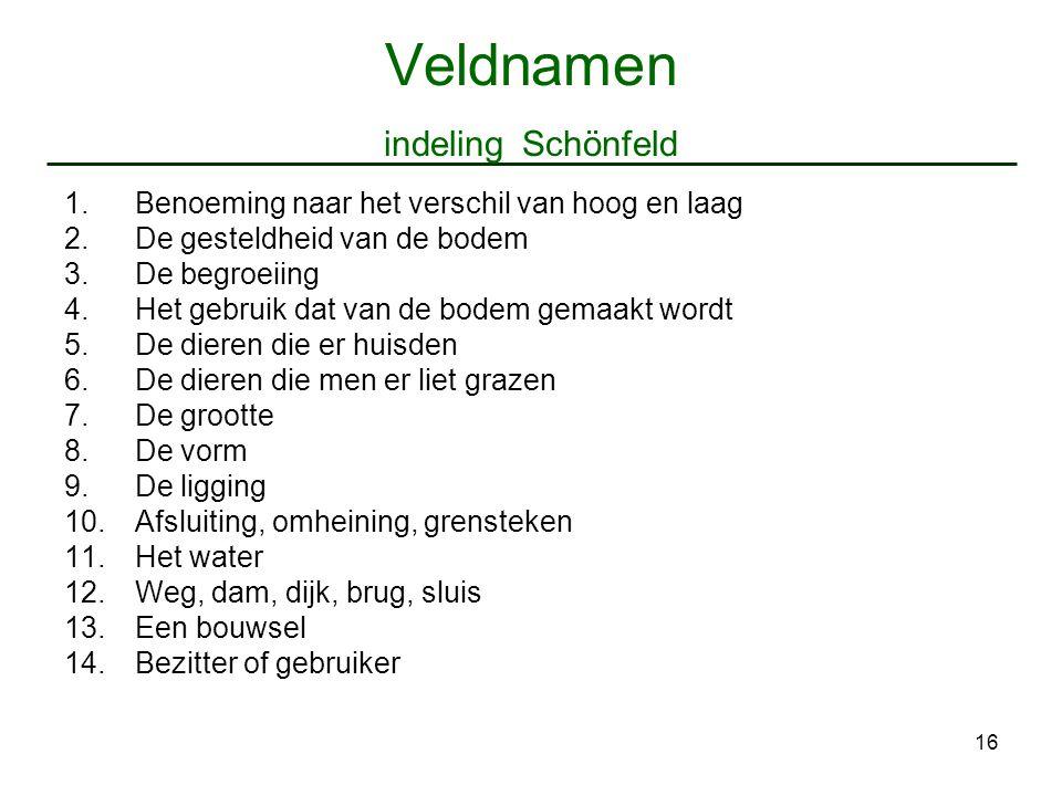 16 Veldnamen indeling Schönfeld 1.Benoeming naar het verschil van hoog en laag 2.De gesteldheid van de bodem 3.De begroeiing 4.Het gebruik dat van de
