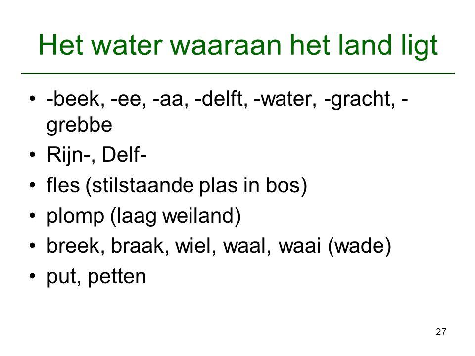 27 Het water waaraan het land ligt -beek, -ee, -aa, -delft, -water, -gracht, - grebbe Rijn-, Delf- fles (stilstaande plas in bos) plomp (laag weiland)