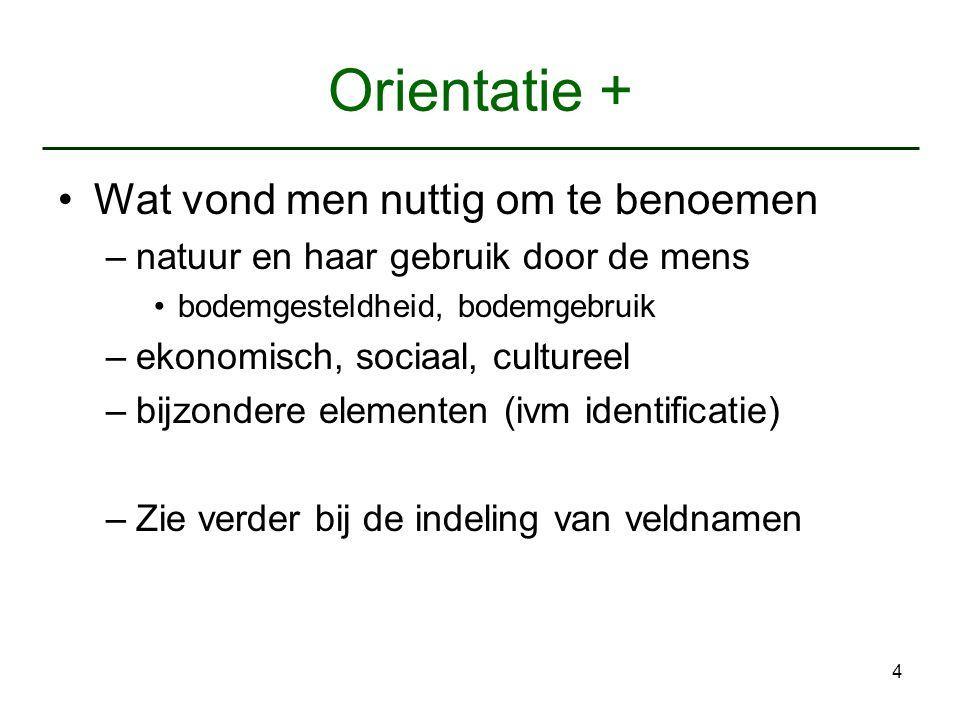 4 Orientatie + Wat vond men nuttig om te benoemen –natuur en haar gebruik door de mens bodemgesteldheid, bodemgebruik –ekonomisch, sociaal, cultureel
