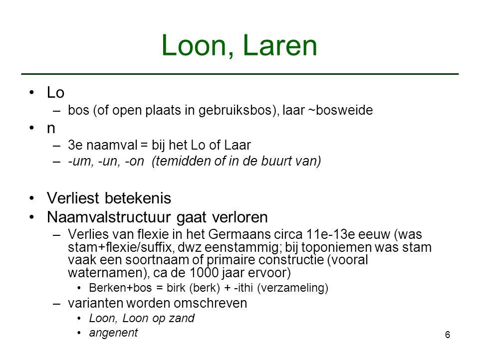 6 Loon, Laren Lo –bos (of open plaats in gebruiksbos), laar ~bosweide n –3e naamval = bij het Lo of Laar –-um, -un, -on (temidden of in de buurt van)