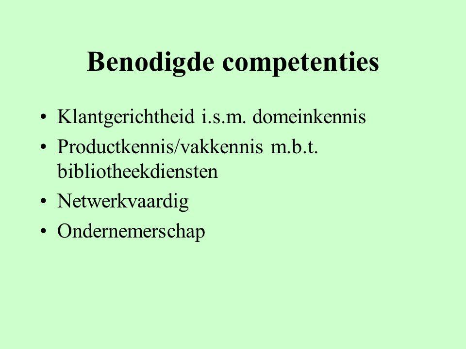 Benodigde competenties Klantgerichtheid i.s.m. domeinkennis Productkennis/vakkennis m.b.t. bibliotheekdiensten Netwerkvaardig Ondernemerschap