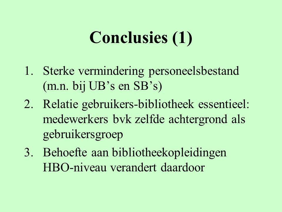Conclusies (1) 1.Sterke vermindering personeelsbestand (m.n.