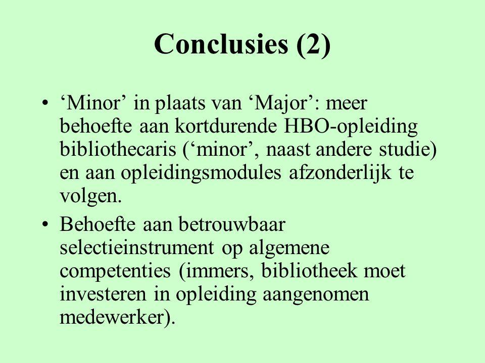 Conclusies (2) 'Minor' in plaats van 'Major': meer behoefte aan kortdurende HBO-opleiding bibliothecaris ('minor', naast andere studie) en aan opleidi