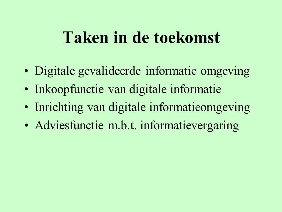 Taken in de toekomst Digitale gevalideerde informatie omgeving Inkoopfunctie van digitale informatie Inrichting van digitale informatieomgeving Adviesfunctie m.b.t.