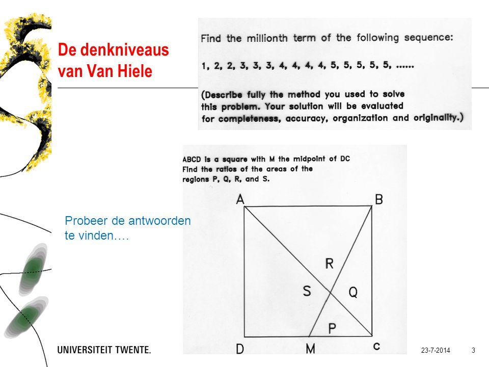 23-7-2014Presentatietitel: aanpassen via Beeld, Koptekst en voettekst 3 De denkniveaus van Van Hiele Probeer de antwoorden te vinden….