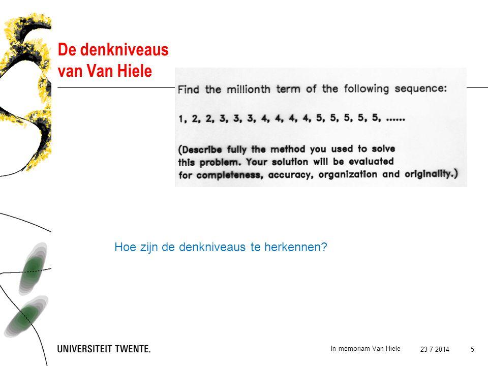 23-7-2014 In memoriam Van Hiele 5 De denkniveaus van Van Hiele Hoe zijn de denkniveaus te herkennen?