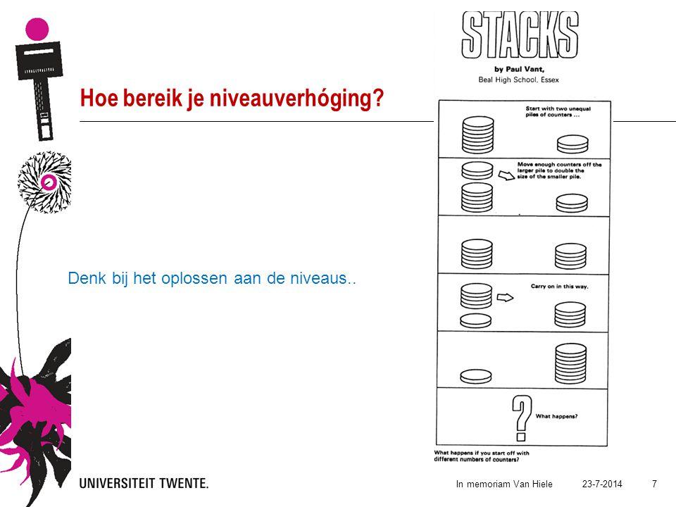 23-7-2014In memoriam Van Hiele 7 Hoe bereik je niveauverhóging? Denk bij het oplossen aan de niveaus..