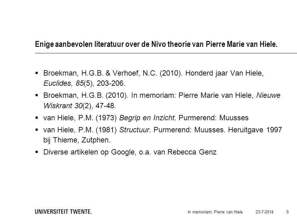Enige aanbevolen literatuur over de Nivo theorie van Pierre Marie van Hiele.  Broekman, H.G.B. & Verhoef, N.C. (2010). Honderd jaar Van Hiele, Euclid