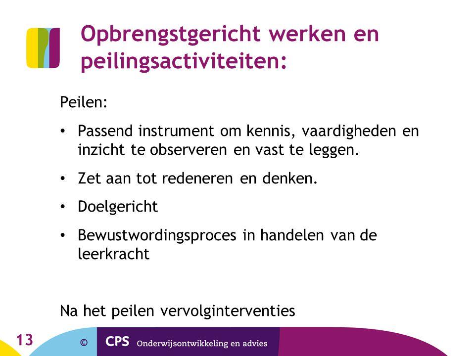 13 Opbrengstgericht werken en peilingsactiviteiten: Peilen: Passend instrument om kennis, vaardigheden en inzicht te observeren en vast te leggen.
