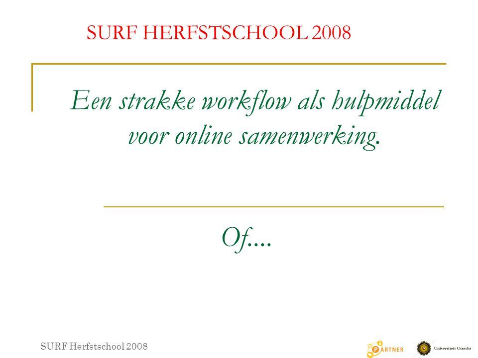 Online samenwerking als hulpmiddel voor een strakke workflow SURF HERFSTSCHOOL 2008 SURF Herfstschool 2008