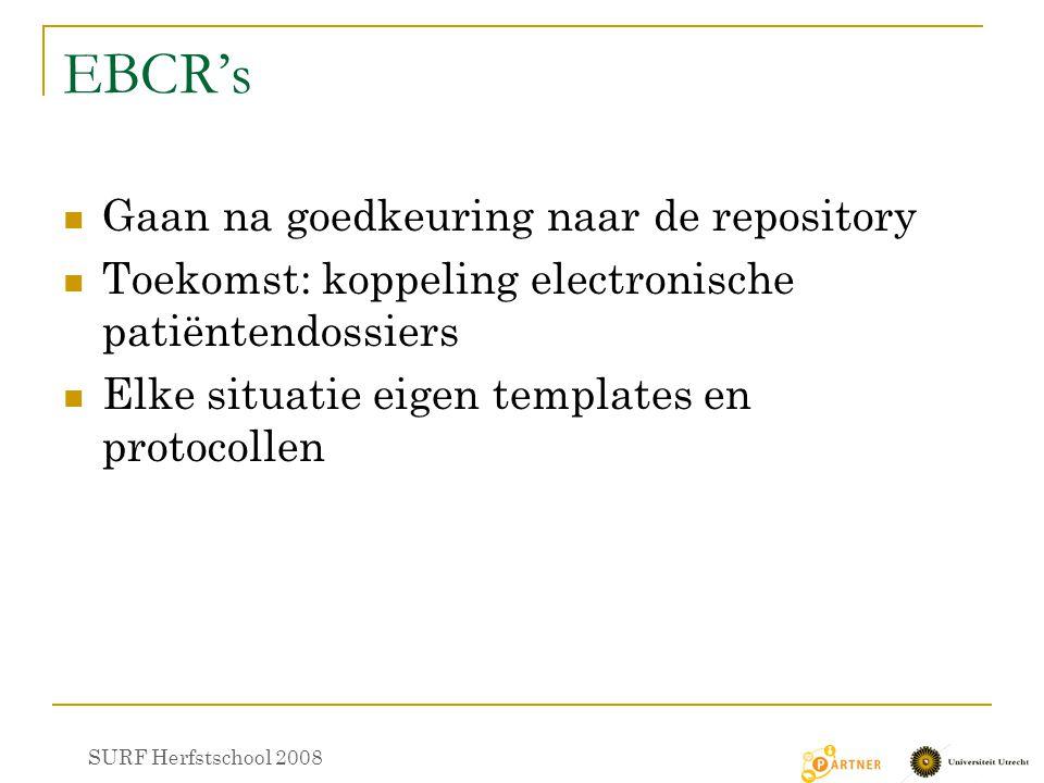 EBCR's Gaan na goedkeuring naar de repository Toekomst: koppeling electronische patiëntendossiers Elke situatie eigen templates en protocollen SURF Herfstschool 2008