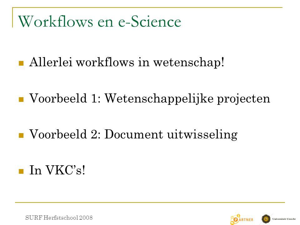 Workflows en e-Science Allerlei workflows in wetenschap! Voorbeeld 1: Wetenschappelijke projecten Voorbeeld 2: Document uitwisseling In VKC's! SURF He