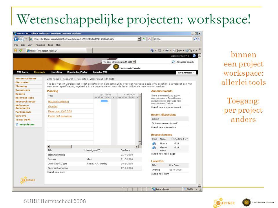Wetenschappelijke projecten: workspace! SURF Herfstschool 2008 binnen een project workspace: allerlei tools Toegang: per project anders