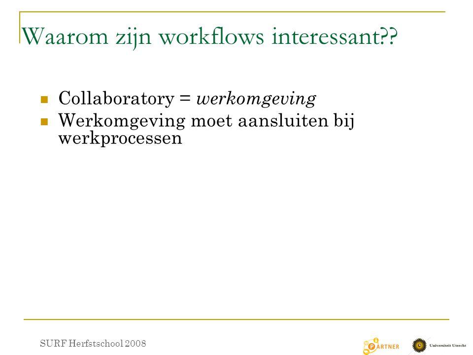 Waarom zijn workflows interessant?? Collaboratory = werkomgeving Werkomgeving moet aansluiten bij werkprocessen SURF Herfstschool 2008