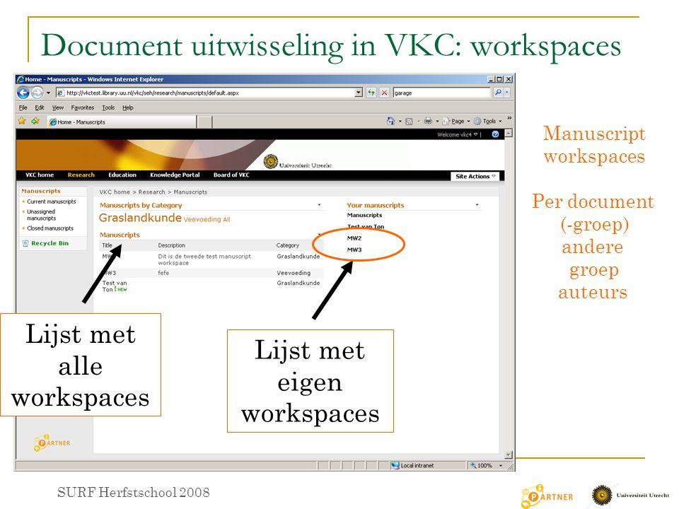 Document uitwisseling in VKC: workspaces Manuscript workspaces Per document (-groep) andere groep auteurs Lijst met alle workspaces Lijst met eigen workspaces SURF Herfstschool 2008