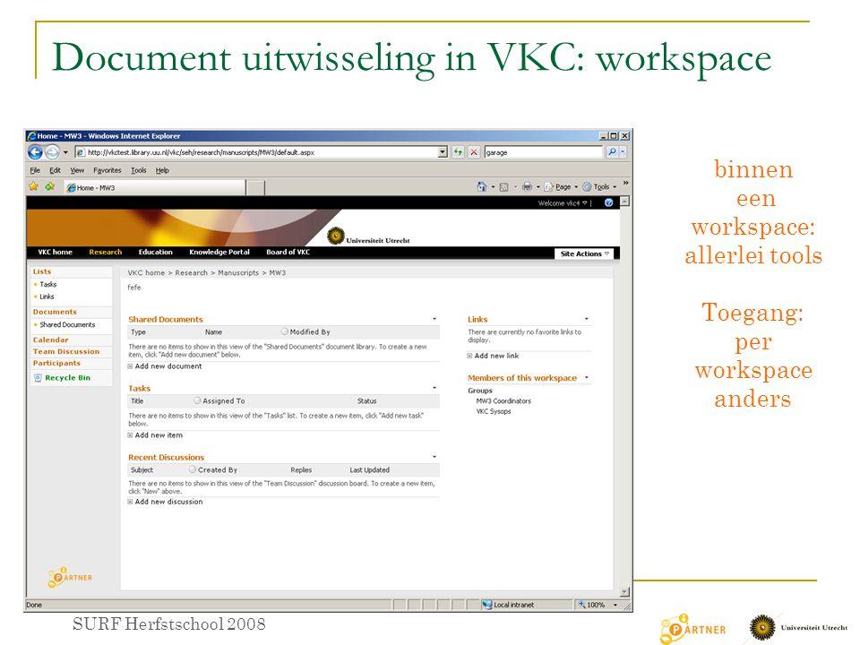 Document uitwisseling in VKC: workspace binnen een workspace: allerlei tools Toegang: per workspace anders SURF Herfstschool 2008