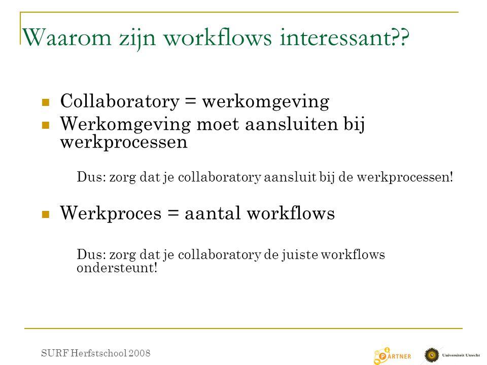 Waarom zijn workflows interessant?? Collaboratory = werkomgeving Werkomgeving moet aansluiten bij werkprocessen Dus: zorg dat je collaboratory aanslui