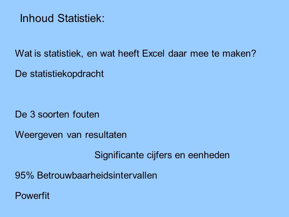 Inhoud Statistiek: Wat is statistiek, en wat heeft Excel daar mee te maken? De statistiekopdracht De 3 soorten fouten Weergeven van resultaten Signifi