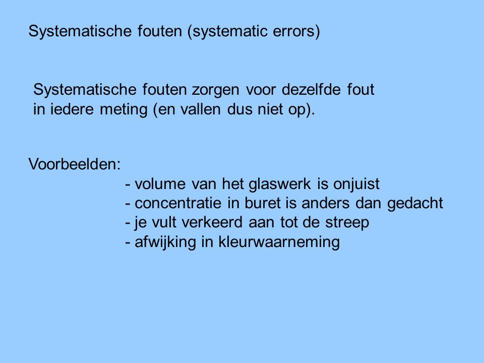 Systematische fouten (systematic errors) Systematische fouten zorgen voor dezelfde fout in iedere meting (en vallen dus niet op). Voorbeelden: - volum