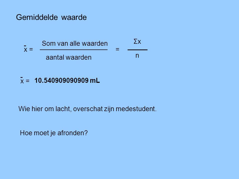 Gemiddelde waarde x = Som van alle waarden aantal waarden = ΣxΣx n Wie hier om lacht, overschat zijn medestudent. 10.540909090909 mL x = Hoe moet je a