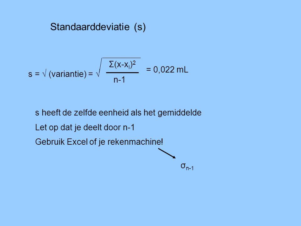 Standaarddeviatie (s) s = √ (variantie) = √ Σ(x-x i ) 2 n-1 = 0,022 mL s heeft de zelfde eenheid als het gemiddelde Let op dat je deelt door n-1 Gebru