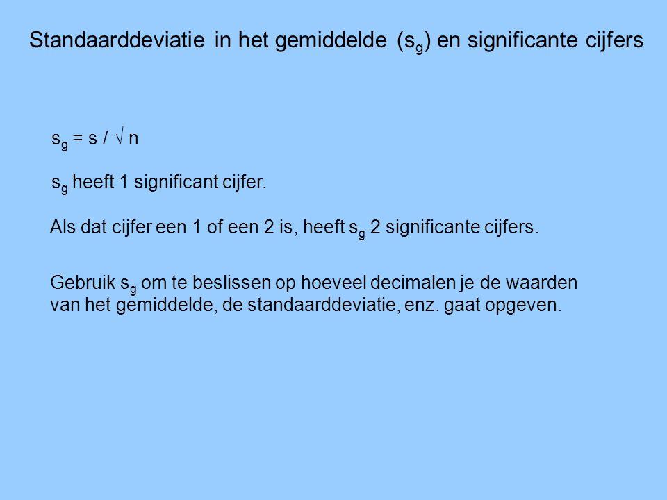 Standaarddeviatie in het gemiddelde (s g ) en significante cijfers s g = s / √ n s g heeft 1 significant cijfer. Als dat cijfer een 1 of een 2 is, hee