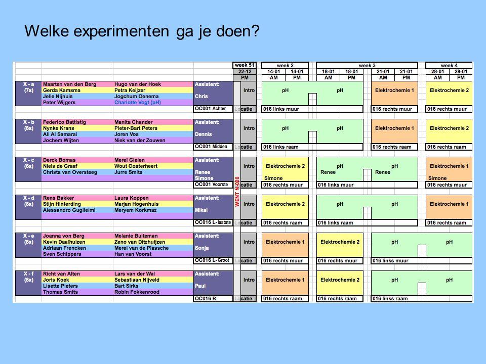 Welke experimenten ga je doen?