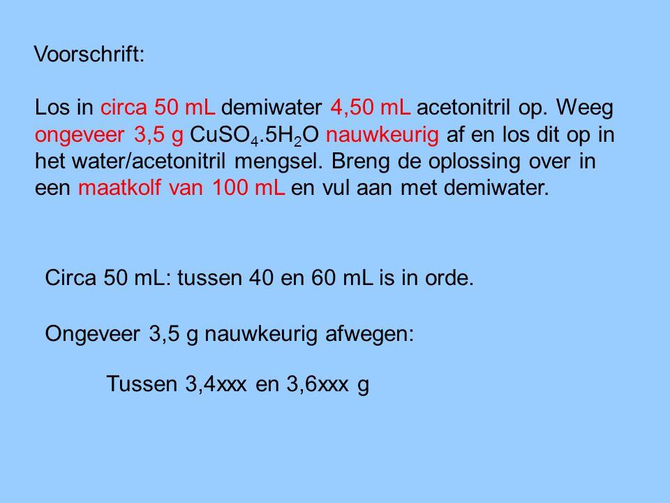 Voorbeelden uit het practicum: Voeg toe: 5 mL zoutzuur (bij synthese) Meet 5 mL af met een verdeelpipet Meet 5 mL af met een Finn-pipet Er wordt drie keer een andere nauwkeurigheid bedoeld!.