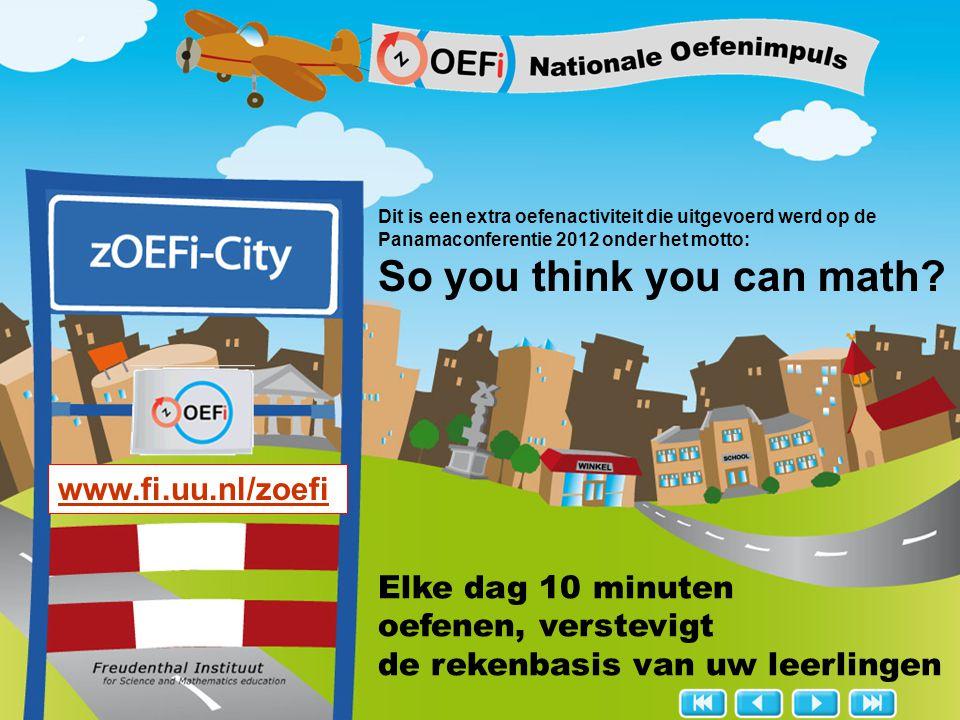 www.fi.uu.nl/zoefi zOEFi de Nationale oefenimpuls voor rekenen automatiseert de rekenbasis 10 minuten-activiteiten via het digibord speels, interactief en coöperatief met begrip en inzicht voor groep 7, 8 en de brugklas past naast elke methode Wat is zOEFi?